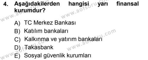 Finansal Yönetim 1 Dersi 2013 - 2014 Yılı (Final) Dönem Sonu Sınav Soruları 4. Soru