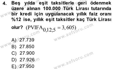 Finansal Yönetim 2 Dersi 2013 - 2014 Yılı Ara Sınavı 4. Soru