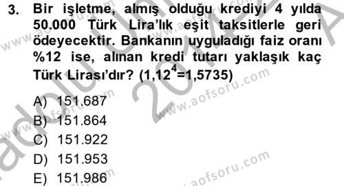 Finansal Yönetim 2 Dersi 2014 - 2015 Yılı Ara Sınavı 3. Soru