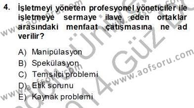 Emlak ve Emlak Yönetimi Bölümü 3. Yarıyıl Girişim Finansmanı Dersi 2014 Yılı Güz Dönemi Ara Sınavı 4. Soru