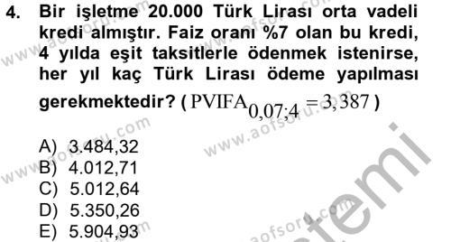 Finansal Yönetim 2 Dersi 2012 - 2013 Yılı Ara Sınavı 4. Soru
