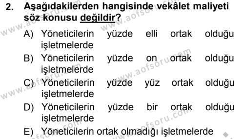 Finansal Yönetim Dersi 2012 - 2013 Yılı Ara Sınavı 2. Soru