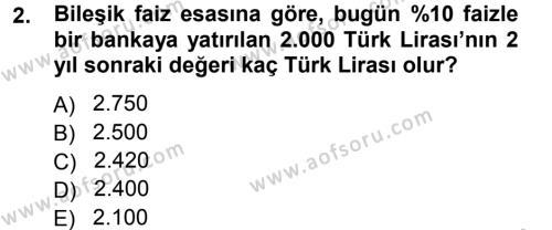 Finansal Yönetim Dersi 2012 - 2013 Yılı Dönem Sonu Sınavı 2. Soru