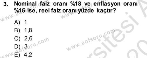 Finansal Yönetim Dersi 2013 - 2014 Yılı Tek Ders Sınavı 3. Soru