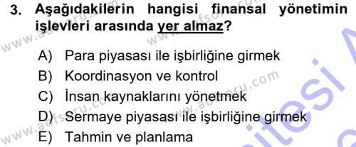 Finansal Yönetim Dersi 2015 - 2016 Yılı Ara Sınavı 3. Soru