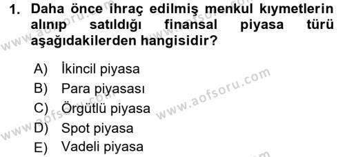 Finansal Yönetim Dersi 2015 - 2016 Yılı Dönem Sonu Sınavı 1. Soru