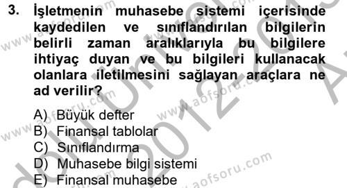 Finansal Tablolar Analizi Dersi 2012 - 2013 Yılı Ara Sınavı 3. Soru