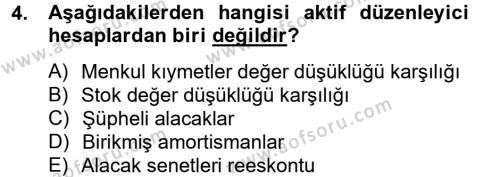 Finansal Tablolar Analizi Dersi 2012 - 2013 Yılı Ara Sınavı 4. Soru