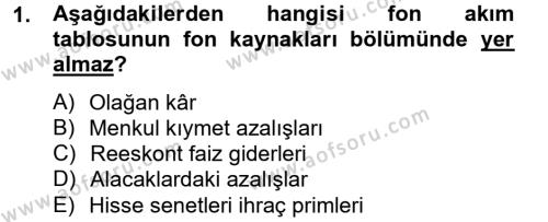 Finansal Tablolar Analizi Dersi 2012 - 2013 Yılı Dönem Sonu Sınavı 1. Soru