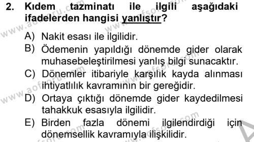 Finansal Tablolar Analizi Dersi 2012 - 2013 Yılı Dönem Sonu Sınavı 2. Soru