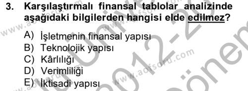 Finansal Tablolar Analizi Dersi 2012 - 2013 Yılı Dönem Sonu Sınavı 3. Soru