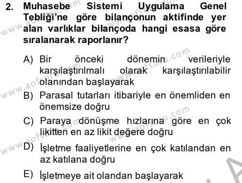 Finansal Tablolar Analizi Dersi 2013 - 2014 Yılı Ara Sınavı 2. Soru