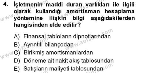 Finansal Tablolar Analizi Dersi 2013 - 2014 Yılı Ara Sınavı 4. Soru