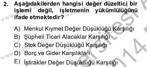 Finansal Tablolar Analizi Dersi 2013 - 2014 Yılı Dönem Sonu Sınavı 2. Soru
