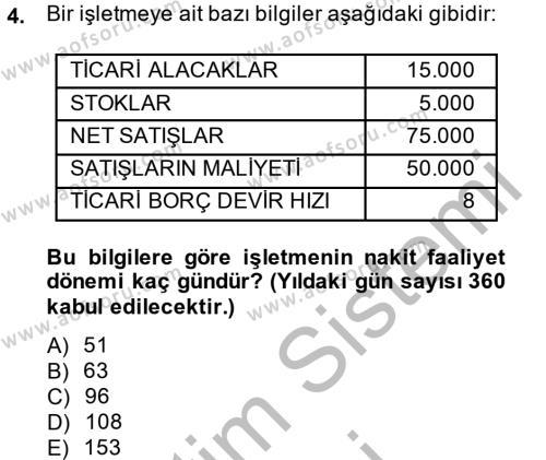 Finansal Tablolar Analizi Dersi 2013 - 2014 Yılı Dönem Sonu Sınavı 4. Soru