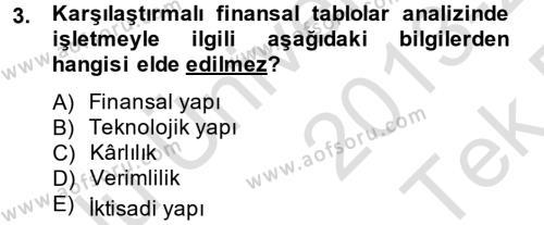 İşletme Bölümü 8. Yarıyıl Finansal Tablolar Analizi Dersi 2014 Yılı Bahar Dönemi Tek Ders Sınavı 3. Soru