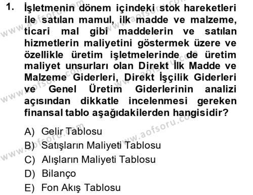 Finansal Tablolar Analizi Dersi 2014 - 2015 Yılı Dönem Sonu Sınavı 1. Soru