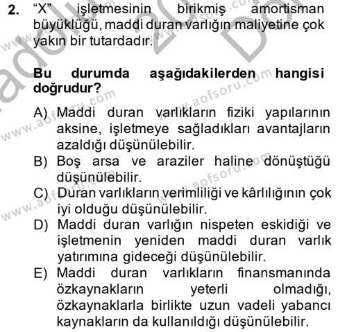 Finansal Tablolar Analizi Dersi 2014 - 2015 Yılı Dönem Sonu Sınavı 2. Soru