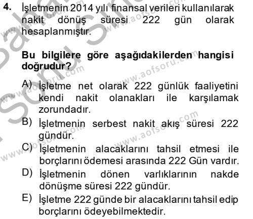 Finansal Tablolar Analizi Dersi 2014 - 2015 Yılı Dönem Sonu Sınavı 4. Soru