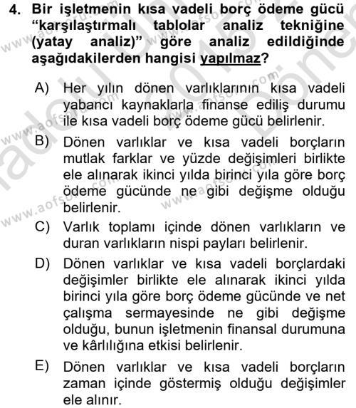 Finansal Tablolar Analizi Dersi 2015 - 2016 Yılı Dönem Sonu Sınavı 4. Soru