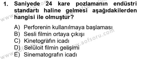 Fotoğrafçılık ve Kameramanlık Bölümü 2. Yarıyıl Hareketli Görüntünün Tarihi Dersi 2014 Yılı Bahar Dönemi Ara Sınavı 1. Soru