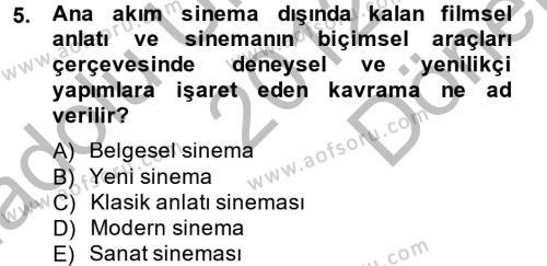 Radyo ve Televizyon Programcılığı Bölümü 2. Yarıyıl Film ve Video Kültürü Dersi 2013 Yılı Bahar Dönemi Dönem Sonu Sınavı 5. Soru