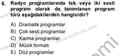 Televizyon Program Yapımı Dersi Ara Sınavı Deneme Sınav Soruları 6. Soru