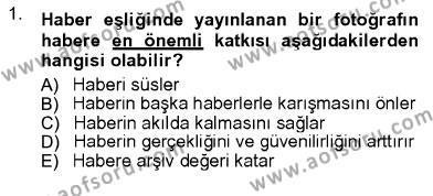 Fotoğrafçılık ve Kameramanlık Bölümü 3. Yarıyıl Fotoğrafın Kullanım Alanları Dersi 2013 Yılı Güz Dönemi Ara Sınavı 1. Soru