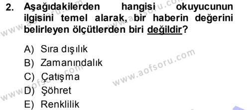 Medya ve İletişim Bölümü 3. Yarıyıl Basın Fotoğrafçılığı Dersi 2014 Yılı Güz Dönemi Ara Sınavı 2. Soru