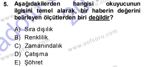 Medya ve İletişim Bölümü 3. Yarıyıl Basın Fotoğrafçılığı Dersi 2015 Yılı Güz Dönemi Ara Sınavı 5. Soru