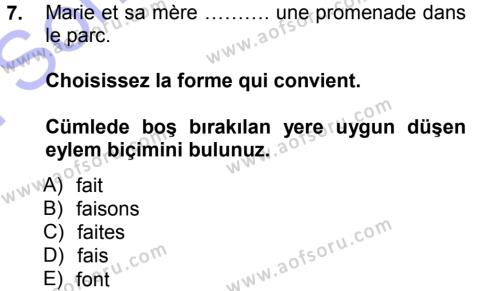 Fransızca 1 Dersi 2012 - 2013 Yılı (Final) Dönem Sonu Sınav Soruları 7. Soru