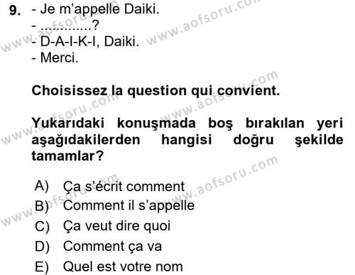 Fransızca 1 Dersi Ara Sınavı Deneme Sınav Soruları 9. Soru