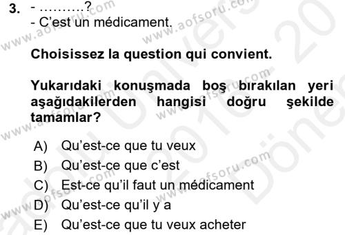 Fransızca 1 Dersi 2016 - 2017 Yılı Dönem Sonu Sınavı 3. Soru