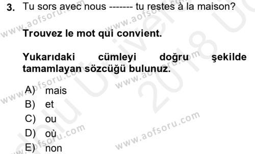 Fransızca 1 Dersi 2017 - 2018 Yılı 3 Ders Sınavı 3. Soru