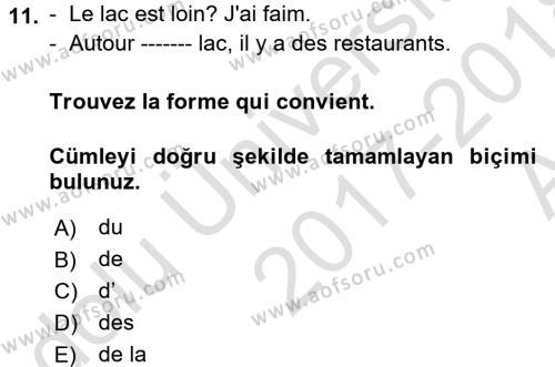 Fransızca 1 Dersi Ara Sınavı Deneme Sınav Soruları 11. Soru