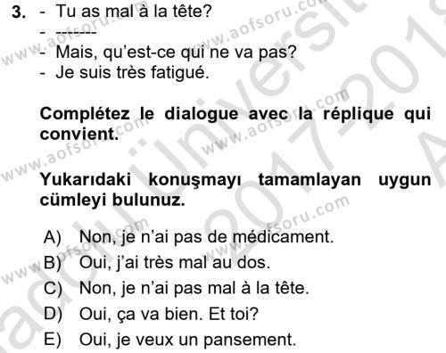 Fransızca 1 Dersi 2017 - 2018 Yılı Ara Sınavı 3. Soru