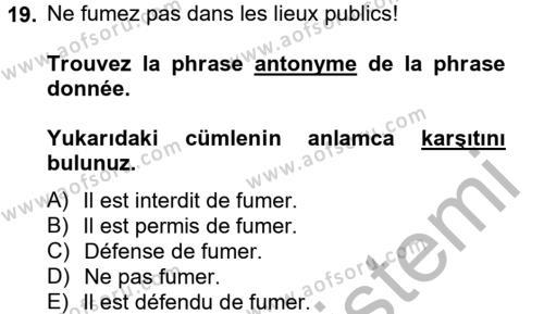 Fransızca 2 Dersi Ara Sınavı Deneme Sınav Soruları 19. Soru