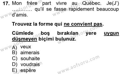 Fransızca 2 Dersi 2012 - 2013 Yılı (Final) Dönem Sonu Sınavı 17. Soru