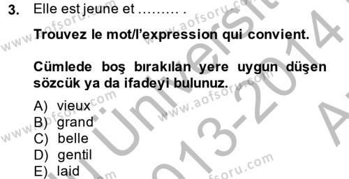 Lojistik Bölümü 2. Yarıyıl Fransızca II Dersi 2014 Yılı Bahar Dönemi Ara Sınavı 3. Soru