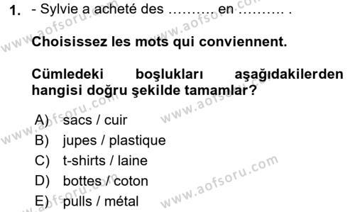 Fransızca 2 Dersi 2015 - 2016 Yılı (Vize) Ara Sınavı 1. Soru