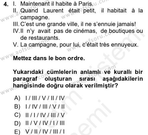 Fransızca 2 Dersi 2015 - 2016 Yılı (Vize) Ara Sınav Soruları 4. Soru
