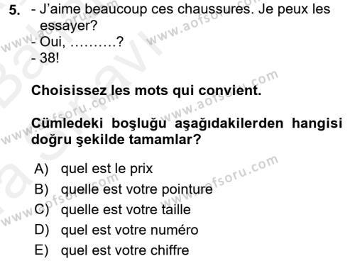 Fransızca 2 Dersi Ara Sınavı Deneme Sınav Soruları 5. Soru