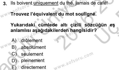 Fransızca 2 Dersi 2016 - 2017 Yılı 3 Ders Sınavı 3. Soru