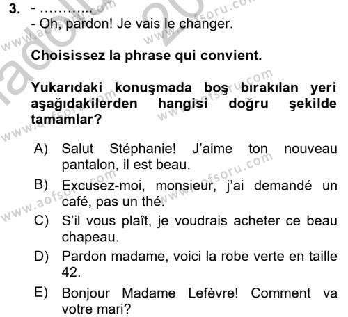 Fransızca 2 Dersi 2016 - 2017 Yılı Ara Sınavı 3. Soru