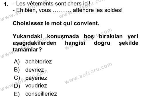 Fransızca 2 Dersi 2016 - 2017 Yılı (Final) Dönem Sonu Sınavı 1. Soru