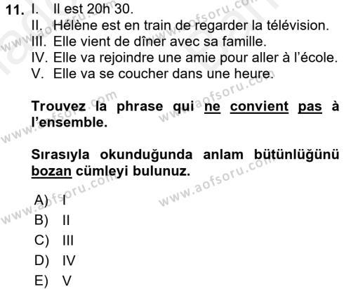 Fransızca 2 Dersi Ara Sınavı Deneme Sınav Soruları 11. Soru
