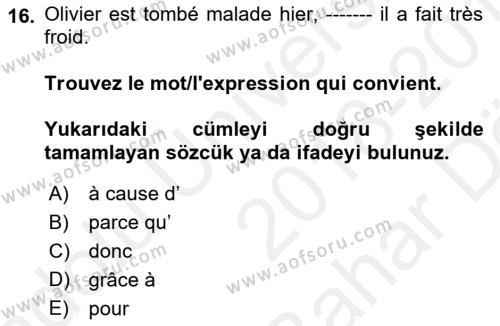 Fransızca 2 Dersi Ara Sınavı Deneme Sınav Soruları 16. Soru