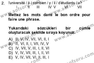 Konaklama İşletmeciliği Bölümü 5. Yarıyıl Fransızca I Dersi 2014 Yılı Güz Dönemi Ara Sınavı 2. Soru