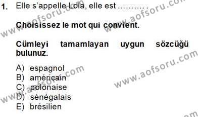 Uluslararası İlişkiler Bölümü 5. Yarıyıl Fransızca I Dersi 2015 Yılı Güz Dönemi Ara Sınavı 1. Soru