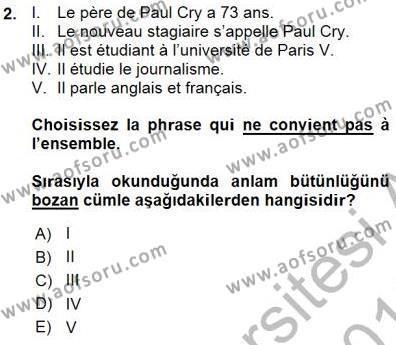 Fransızca 1 Dersi 2015 - 2016 Yılı Ara Sınavı 2. Soru